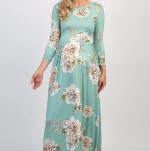 ♡PinkBlush♡ Mint Floral Print 3/4 Sleeve Maxi